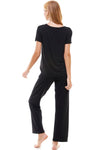 Loungewear set for women's solid mauve & black short sleeve