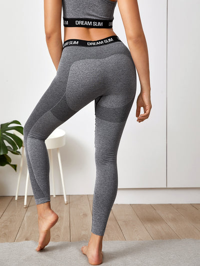 Contrast Panel Letter Graphic Sports Leggings