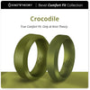 Crocodile Earth Green Bevel Comfort Fit Silicone Ring Man