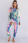 Blue Pink Snuggle Down Tie Dye Lounge Set