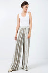 Wide Leg Striped Pants with Drawstring Waist