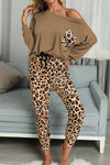 Casual Brown Long Sleeve Leopard Pants Loungewear Set