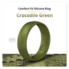 Crocodile Green Domed Comfort Fit Silicone Ring Man