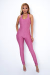 Criss Cross Backless Halter Sports Jumpsuit-Mauve