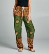 Green Boho Elephant Print Pants