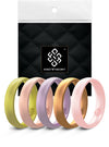 Lotus 5-Pack Domed Comfort Fit Silicone Ring Woman