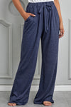 Navy Blue Drawstring Wide Leg Lounge Pants