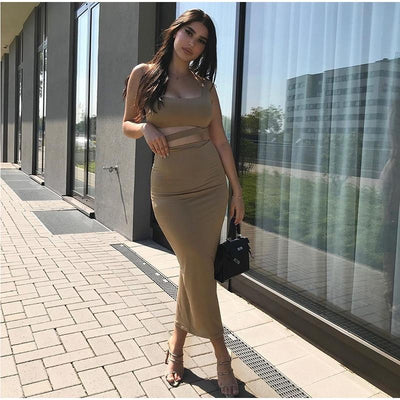 2 Layers Long Skirts Two Piece Set Summer Party Wear