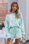 Sky Blue Tie-dye Long Sleeve Pajamas Loungewear Set