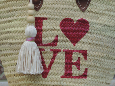 Straw Bag with Hand-Painted Magenta LOVE Design