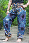 Blue MANDALA Women Boho Pants Hippie Pants Yoga Pants