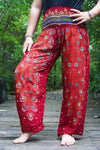 Burgundy PEACOCK Women Boho Pants