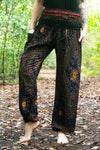 Black PEACOCK Harem Pants Women