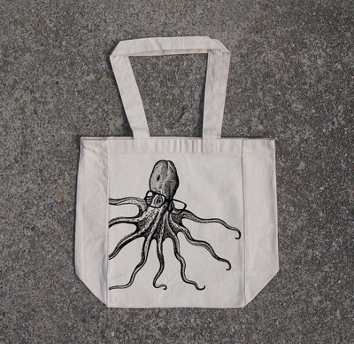Octopus wearing glasses- cotton canvas natural tote bag