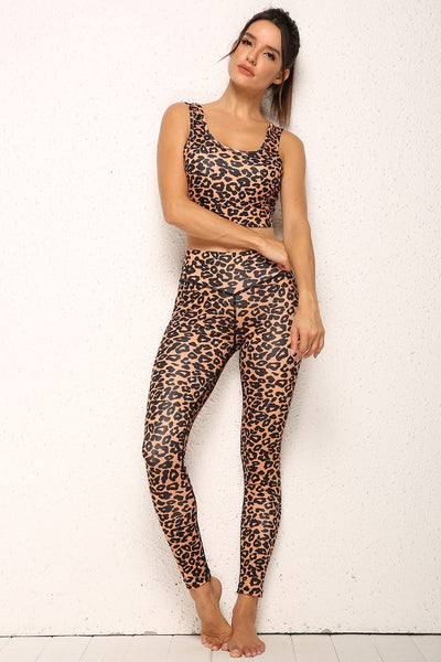 Leopard Sports Sets Yoga Fitness Bras and Pants