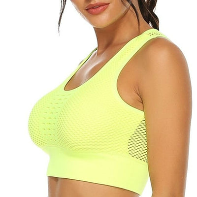 Hot Fitness Women's T-shirts  Sexy Mesh Sports Bra Vest Backless Solid