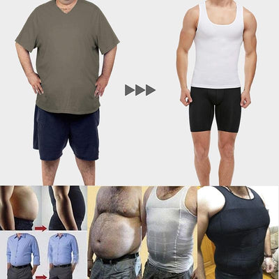 Mens Slimming Body Shaper Chest Compression Shirts Tummy Control