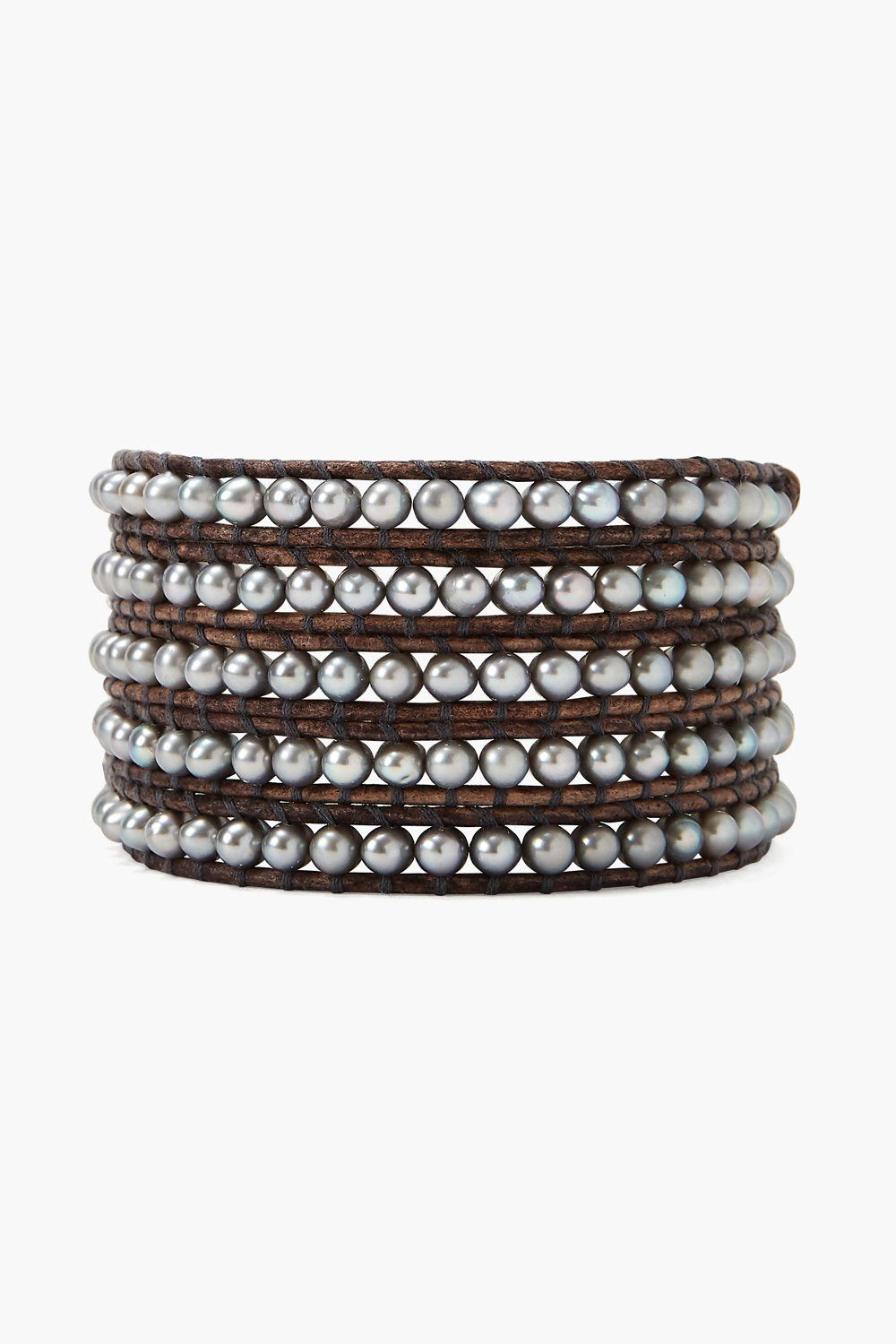 Pearl and Natural Leather 5-Wrap Bracelet BS-1289