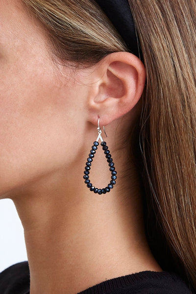 Silver or Midnight Crystal Teardrop Earrings ESZ-5324
