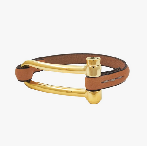 CXCB01130RC Leather & Gold Bracelet