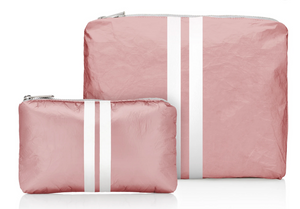 Hi Love Stripe  2 Pack  Make Up Bags