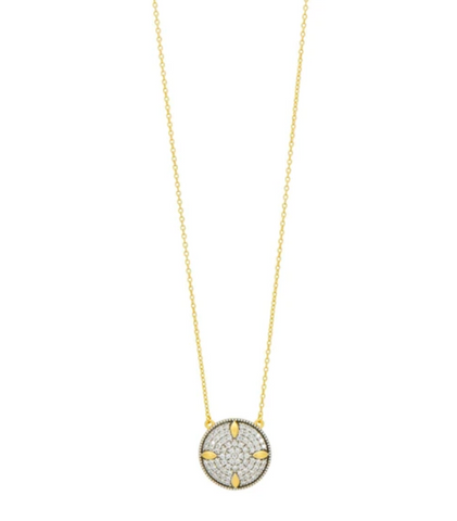 Freida Rothman Petals And Pave Small Pendant Necklace