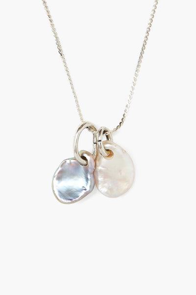 Double Pearl Silver Pendant Necklace NS-14329