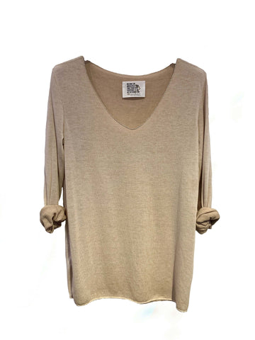 Free L/S V Lurex Trim Top