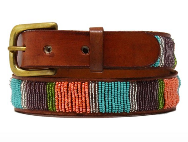 Vertical Stripe Beaded Belt from Kenya