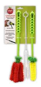 BEST WATER BOTTLE BRUSH SET: No bristles. Includes 1 Large Bottle Brush, 1 Small Bottle Brush, and 2 Straw Brushes.  NO RUST: This water bottle cleaning brush has no wires that bend or rust, instead being made of 100% Polyester.  100% NON SCRATCH: No scratching or food streaks. safe for baby bottles, fine crystal, stemware, plastic, and stainless steel.