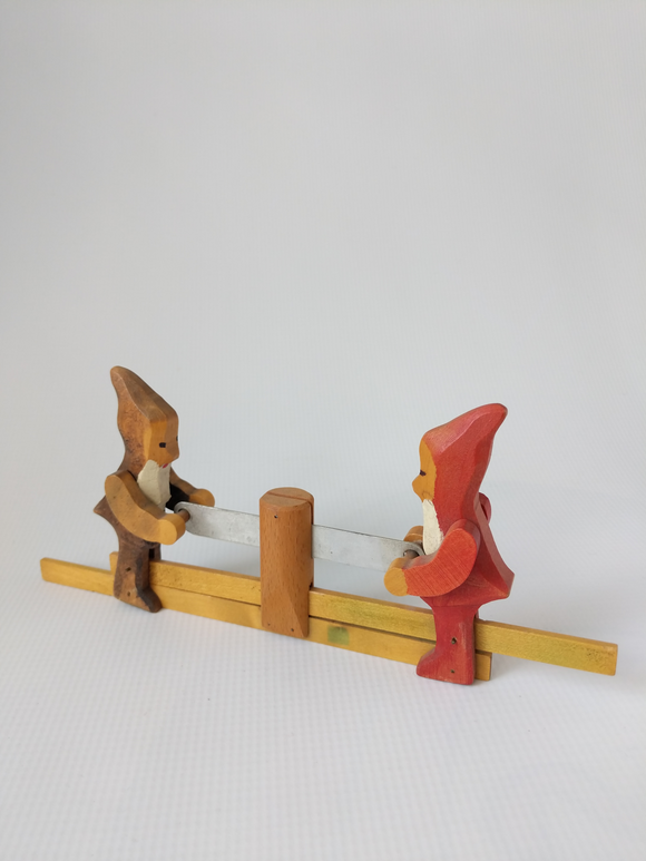 German Collectible Rare Wooden Hand Made and Hand Carved Sawing Toy