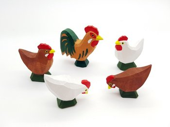 Lotte Sievers Hahn 4 Pc. Set of Chickens