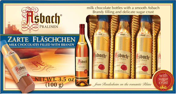 Asbach Brandy filled 8  Milk/Dark Chocolate bottles