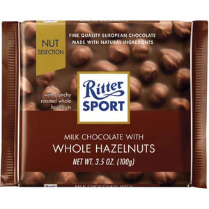 Ritter Sport Milk Chocolate with Whole Hazelnuts filling