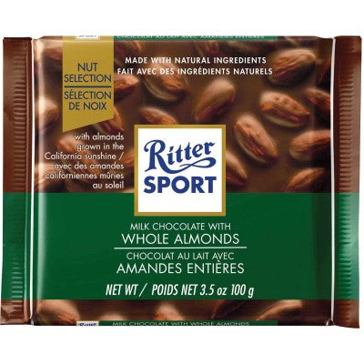 Ritter Sport Milk Chocolate with Whole Almonds filling