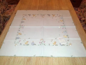 Embroidered Easter  Square  Table linen with Chickens and Easter Eggs