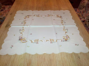 Embroidered Easter  Square  Table linen with Spring Flowers Chickens and Easter Eggs