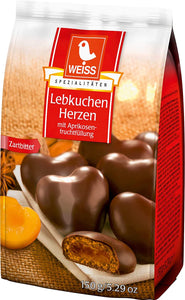Weiss Lebkuchen Herzen Gingerbread Hearts with Apricot Filling and Dark Chocolate