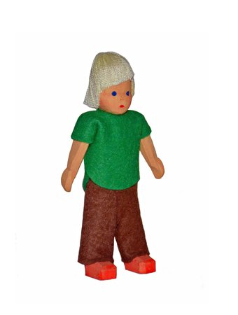 Lotte Sievers Hahn Doll's house, boy, big, blond, 10 cm