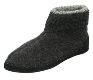 600 Biolana Boiled Wool Slippers Huettenschuh House Shoe with Latex covered Sole Deep Foot Bed