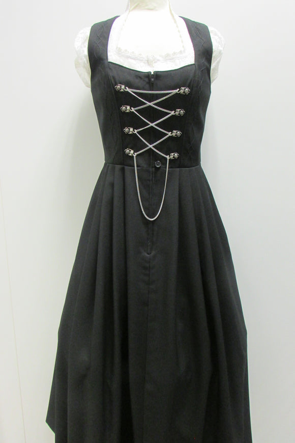 Country Line Black Dirndl B4-474 Zipper and Chain