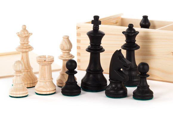 Hand Made Wooden Chess Figurines in Wooden Box