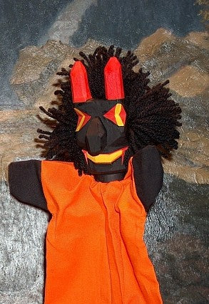 Devil Hand Carved Glove Hand Puppet