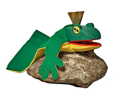 Frog King  Hand Carved  Glove Hand Puppet