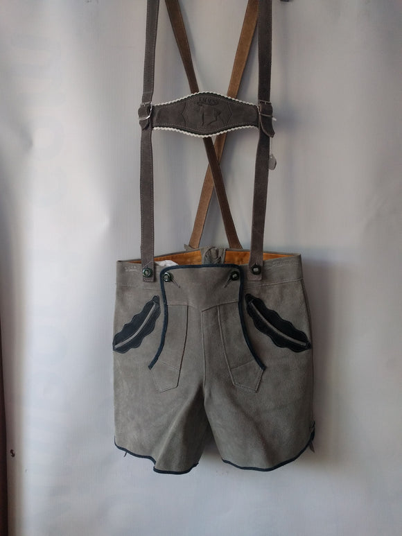 Grey Lederhosen with Suspenders