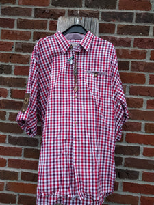 Red checkered Men Trachten Shirt