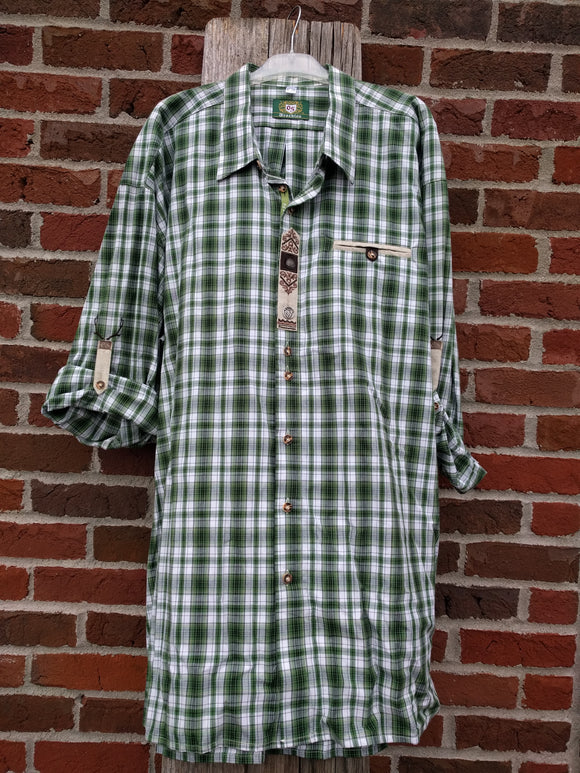 Green and  White big  Checkered  Men Trachten  Shirt