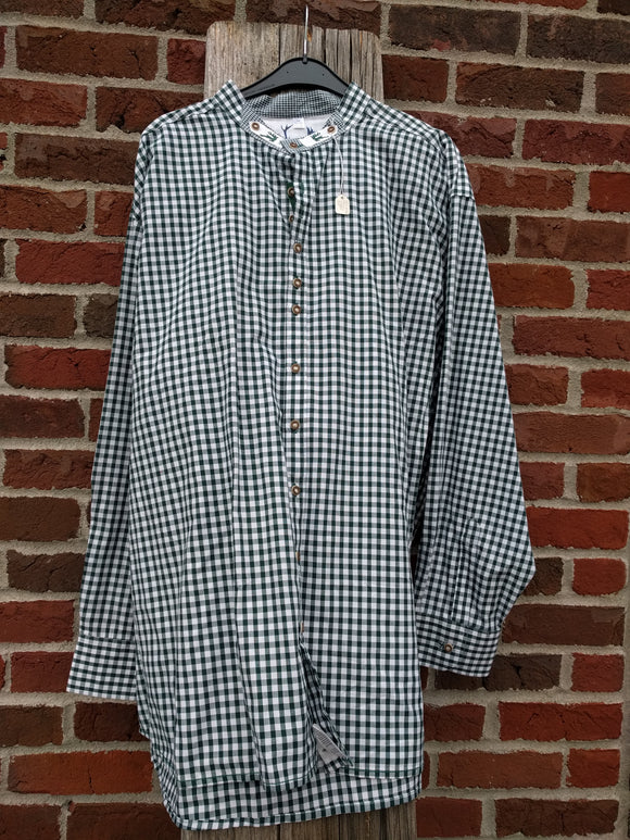 Green and Blue Checkered Men Trachten Shirt