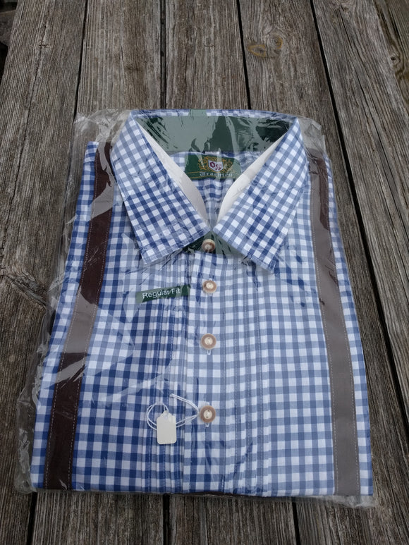 Blue/White  Checkered Trachten Shirt with Suspenders