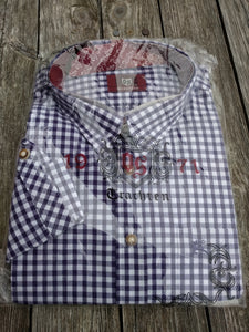 Purple and White Checkered Trachten Shirt